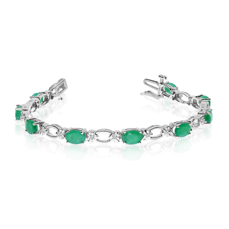 14k White Gold Natural Emerald And Diamond Tennis Bracelet (7 Inch Length)