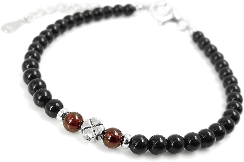 Suerte trébol de cuatro hojas Pulsera de cadena ajustable hecha a mano Granate de alto grado AAA Piedras preciosas de Onyx negro Cierre de pinza de langosta de plata de ley genuina Perlas pequeñas 4mm