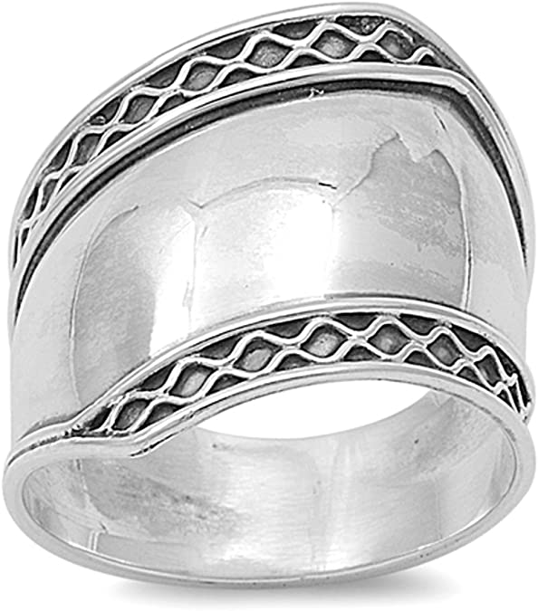 STERLING SILVER PLAIN  BAND RING 8MM  Wide Various Sizes G-Z Wedding Thumb