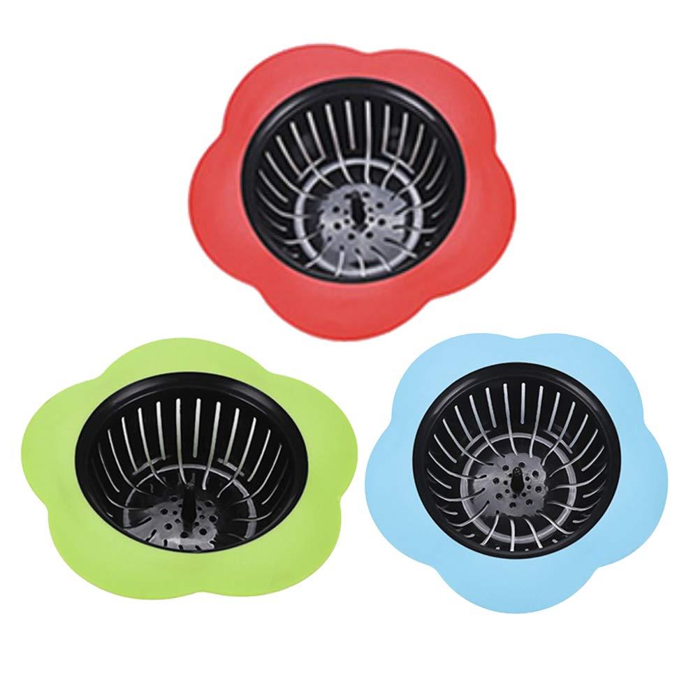 BESTONZON 3pcs forma di fiore lavello colino cucina bagno di plastica lavandino di scarico cestino del filtro (rosso + blu + verde)