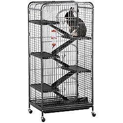 "Yaheetech 52"" 6 Level Indoor Ferret Rabbit Small Animal Cage Hutch Black"