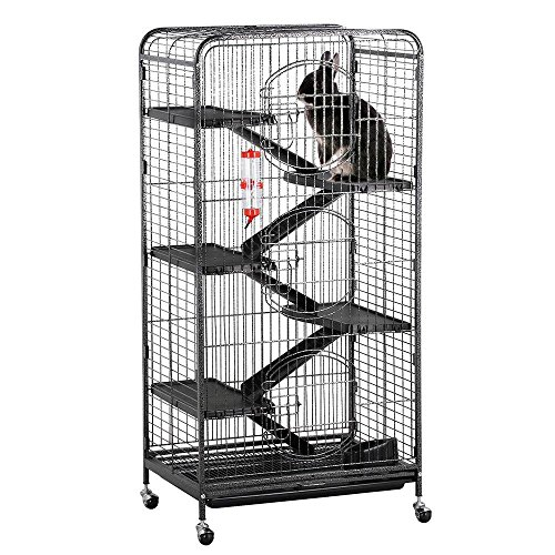 "Yaheetech 52"" 6 Level Metal Rabbit Cage with 3 Front Doors/Feeder/Wheels Small Animal Cage Hutch for Ferret Bunny Indoor Outdoor,Black ()"