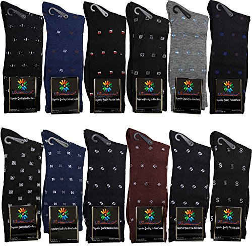 USBingoshopTM Mens Cotton Dress Socks (10-13, Geo)