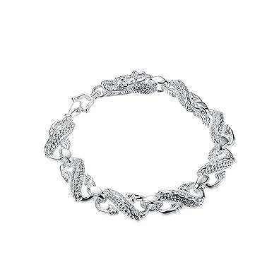 NYKKOLA Elegant Jewelry Beautiful 925 Sterling Silver plated Star Circle Bracelet 4CucXnV