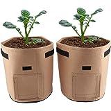 Breathable Potato Tomato Planting Bag Outdoor Garden Vegetable Plant Growth Bag for Growing Potato Carrot Onion 2Pcs(Brown)