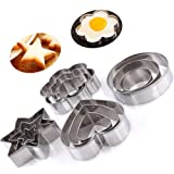 Cookie Cutter, PANNIUZHE 12PCS Stainless Steel Christmas Cookie Cutters, Star Hearts Round Flower Shape Moulds, Cake Pastry Icing Biscuit Cutters