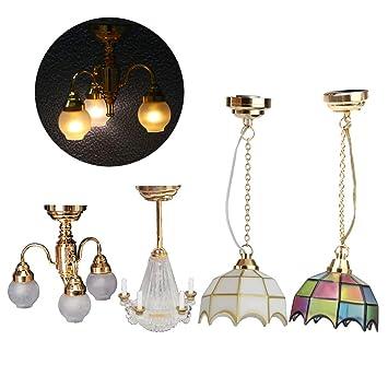 KESOTO 1/12 Dollhouse Lámpara de Techo Miniatura Lámpara de Luz LED Transparente 4 Piezas