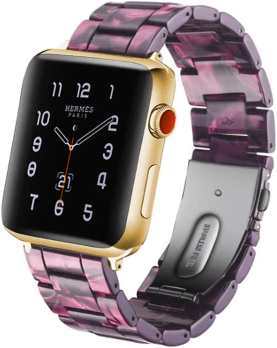 SPINYE Band Compatible with iWatch 38mm 42mm 40mm 44mm, Colorful Resin Replacement Bracelet Strap for Apple Watch Series 5/4 / 3 Women Men (42/44mm, Purple)
