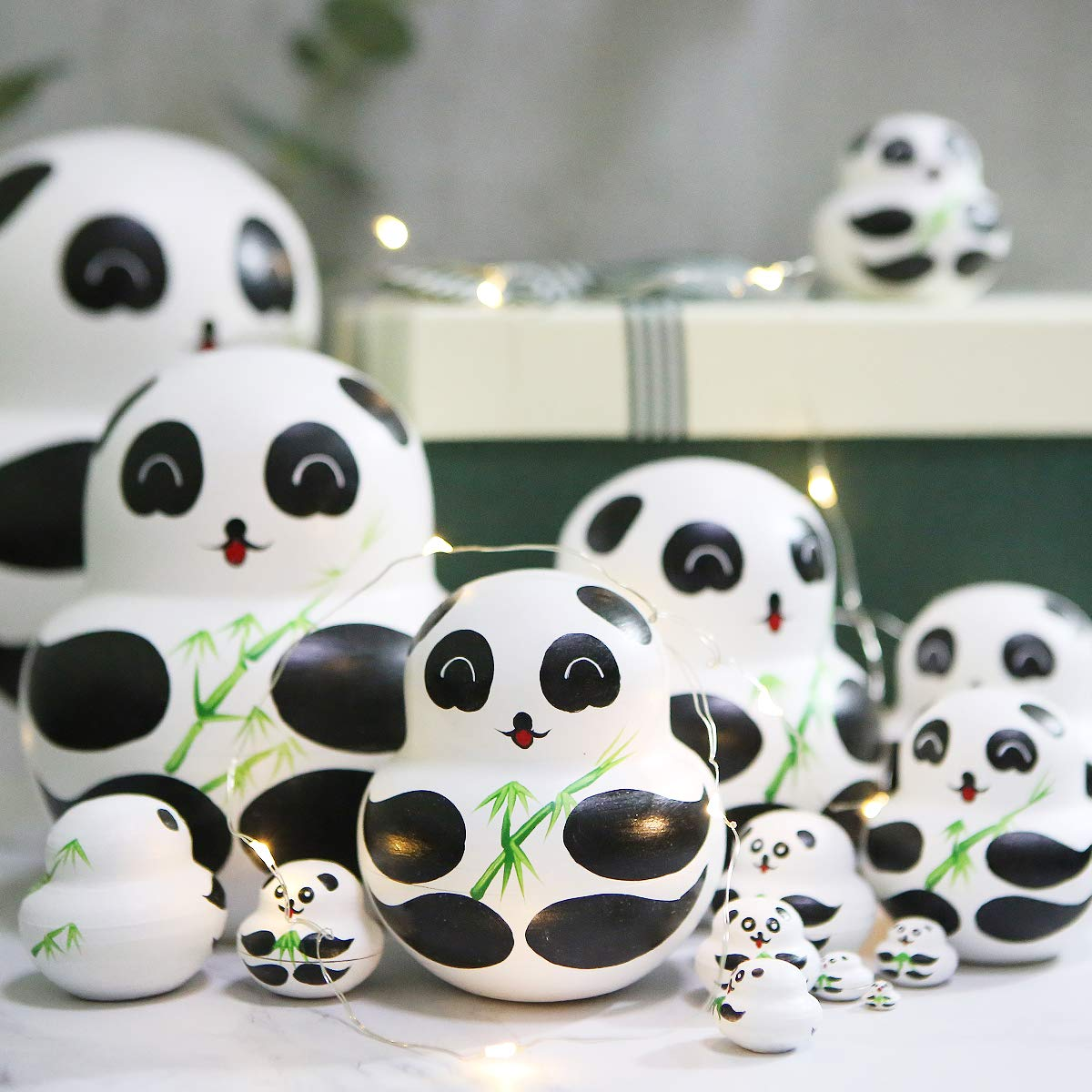 Apol Set of 15 Panda Bear with Bamboo Nesting Dolls Big-Belly Wooden Handmade Matryoshka Russian Doll in a Box with Bow for Kids Toy Home Decoration Year by Apol (Image #7)