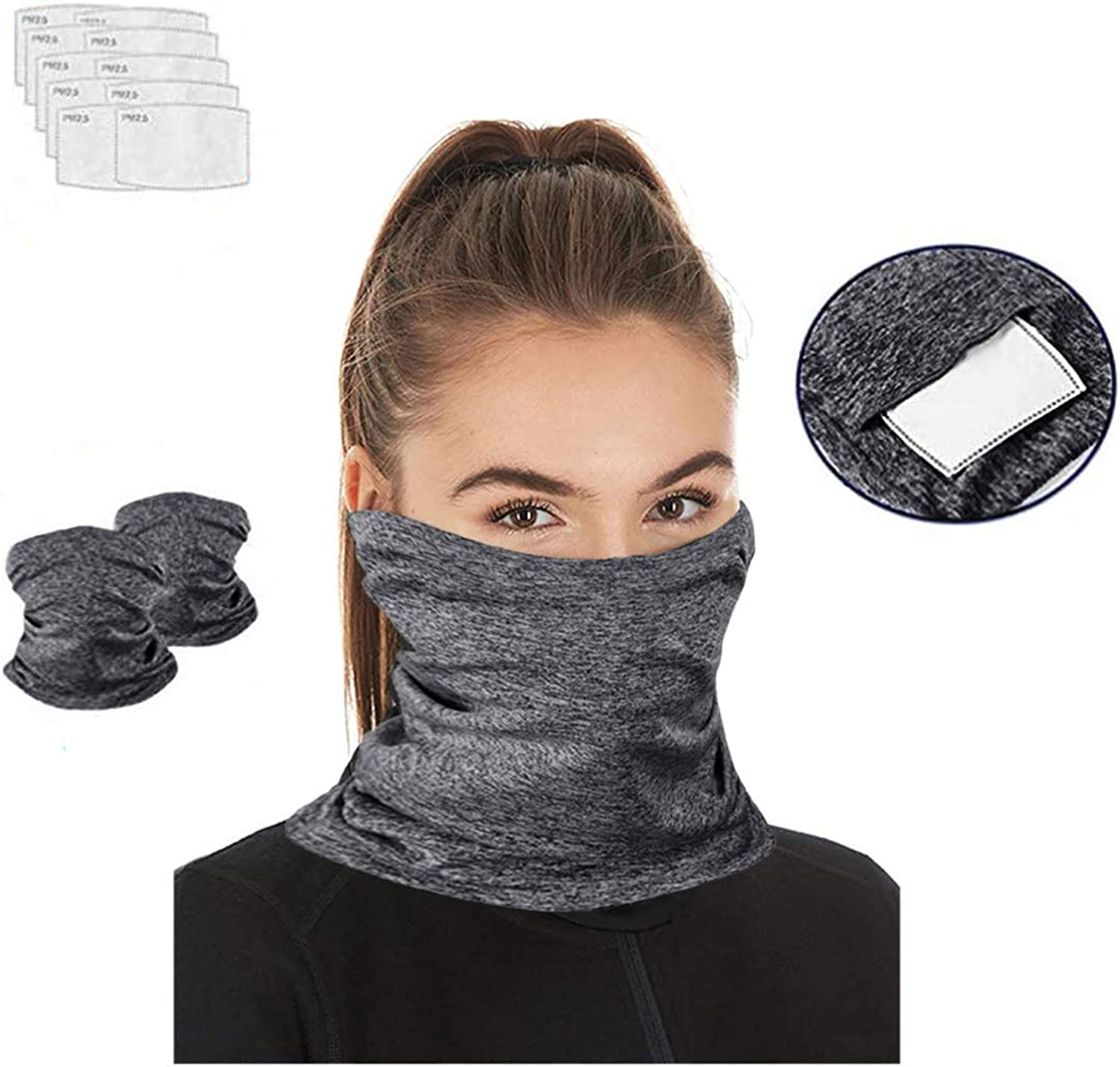 Zecilbo Seamless Bandana Face Scarf Neck Gaiter Multifunctional Half Face Magic Scarf with Carbon Filters/Outdoor Sports 2PCS
