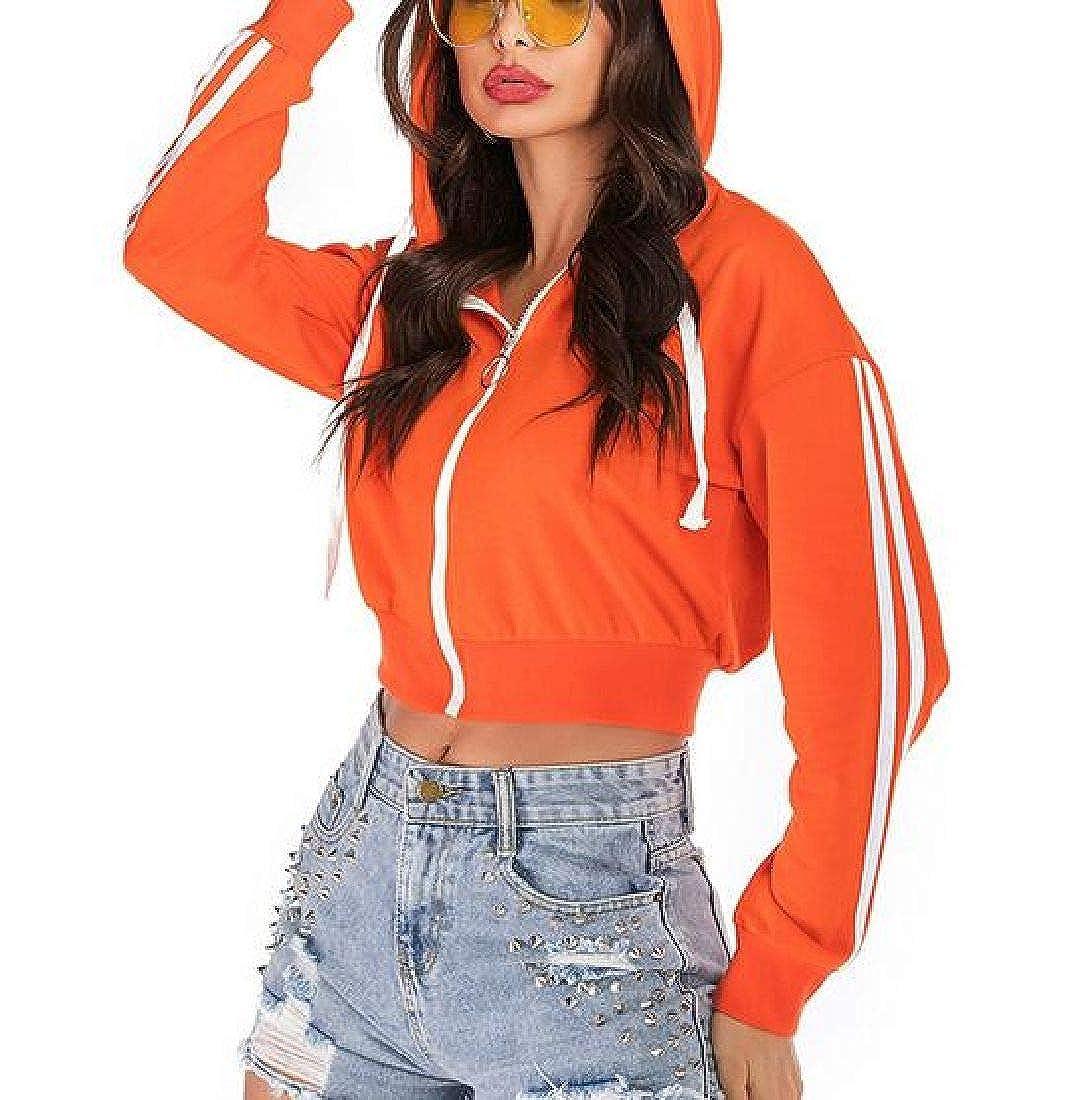 UUYUK Women Full Zip Long Sleeve Casual Jacket Sweatshirts Hooded Tops