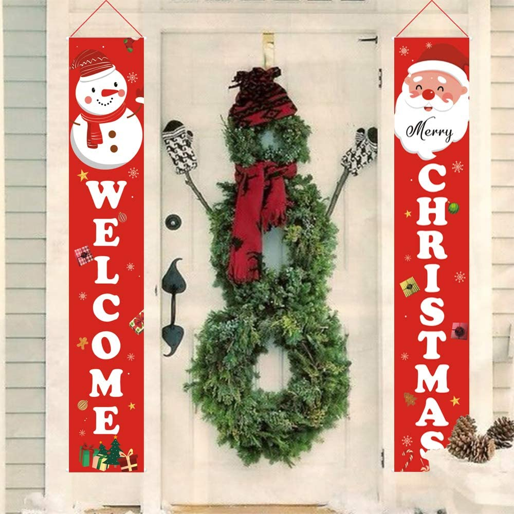 Holly LifePro Happy Christmas|Welcome& Happy Christmas Happy New Year All Decoration Outdoor Banner | Porch Decorations |Front Door Indoor Display Garden Office Home Party Supplies Red