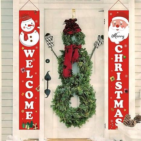 Porch Decorations Holly LifePro Happy Christmas|Welcome/& Happy Christmas All Decoration Outdoor Banner Front Door Indoor Display Garden Office Home Party Supplies