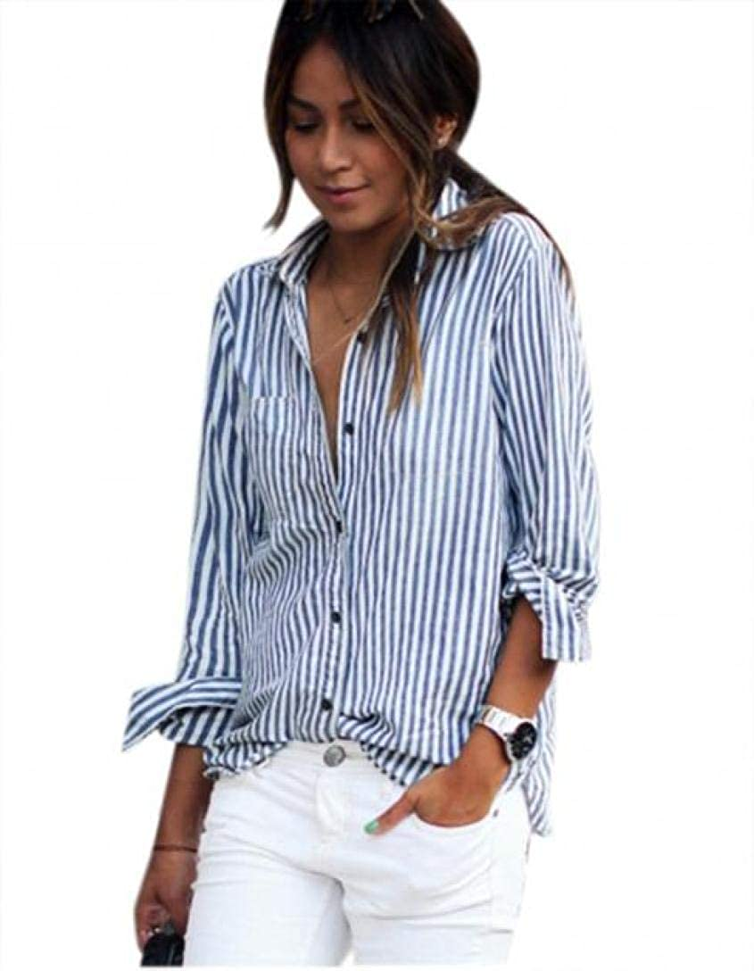 Lmtime Clearance!!!Women Fashon Striped Long Sleeve Loose Blouse Casual T Shirt Tops