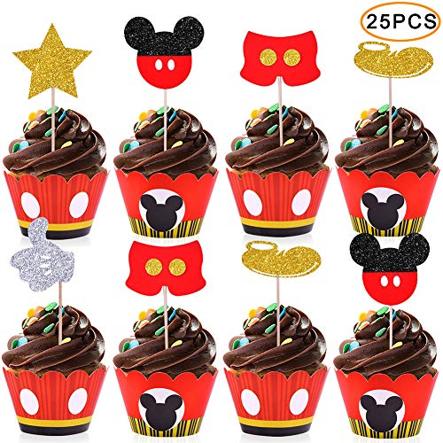 Mickey Cupcake Toppers Wrappers Kids Birthday Micky Party
