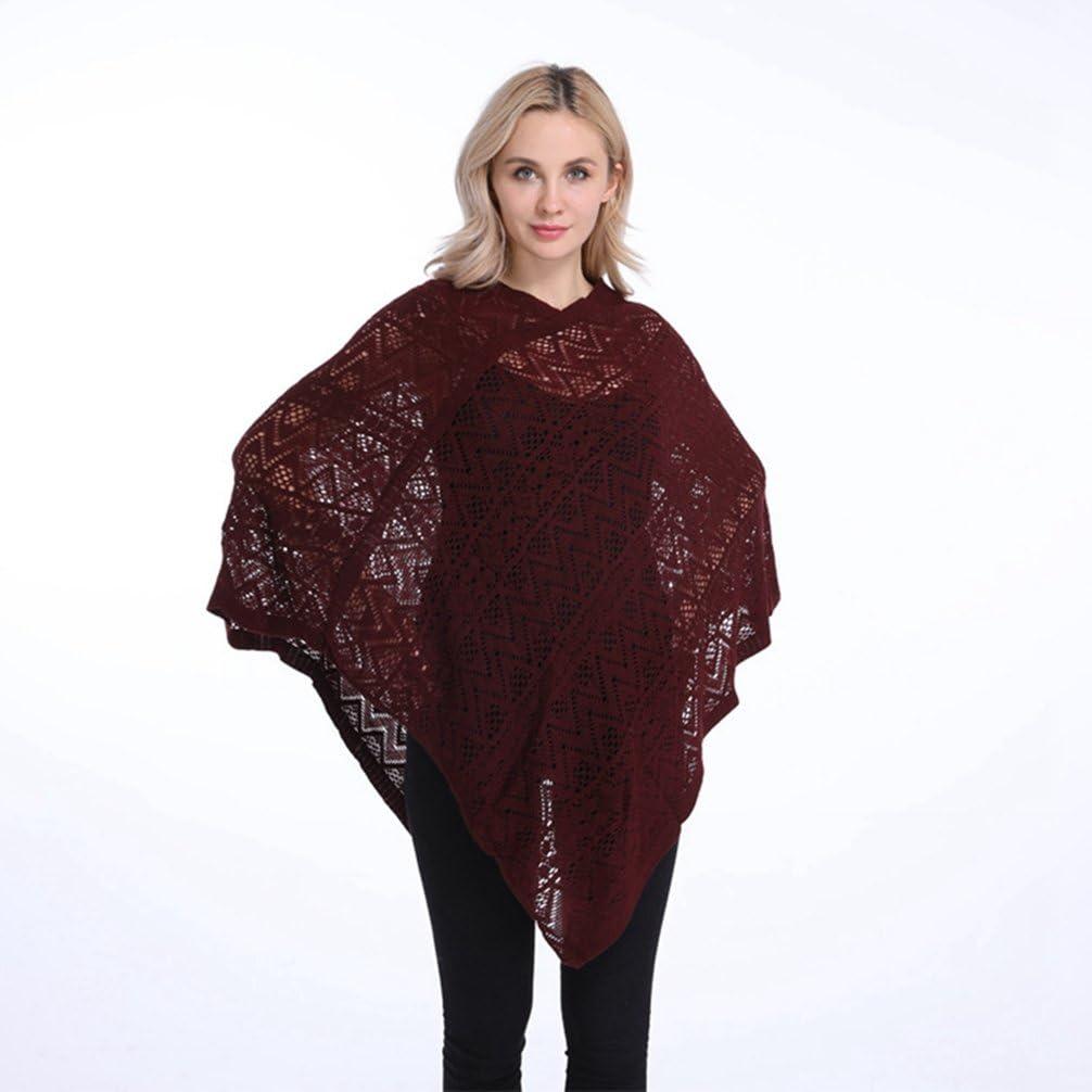 LvRao Damen L/ässiger Strick Poncho Top Strand Cover-Ups Pullover mit Fransensaum V-Ausschnitt und Muster
