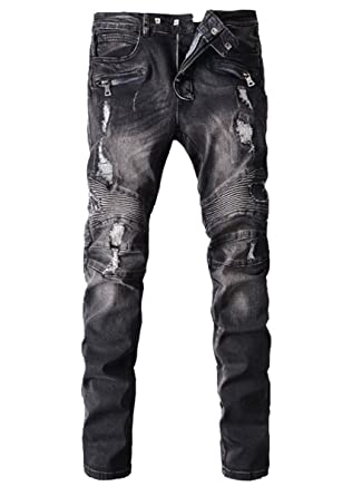 aae4a2c9 Men's Slim-Fit Destroyed Biker Denim Black Jeans with Zips and Panels at  Amazon Men's Clothing store:
