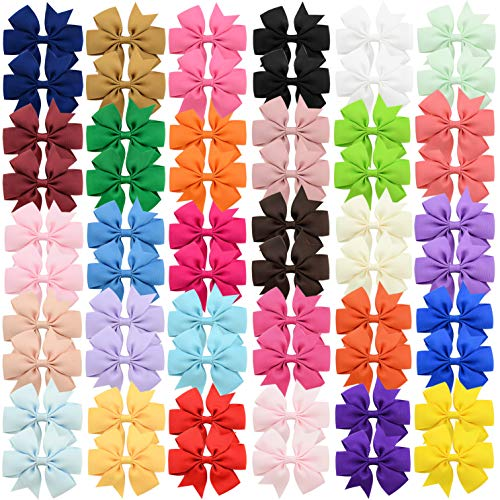 60Pcs Hair Bows Clips Solid Color Grosgrain Ribbon Larger Hair Bows Alligator Clips Hair Accessories for Baby Girls Infants Toddlers Kids Teens