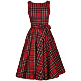 Vintage Scozzese Big Swing abiti senza maniche Donna cotone Plaid gonna abito da cocktail