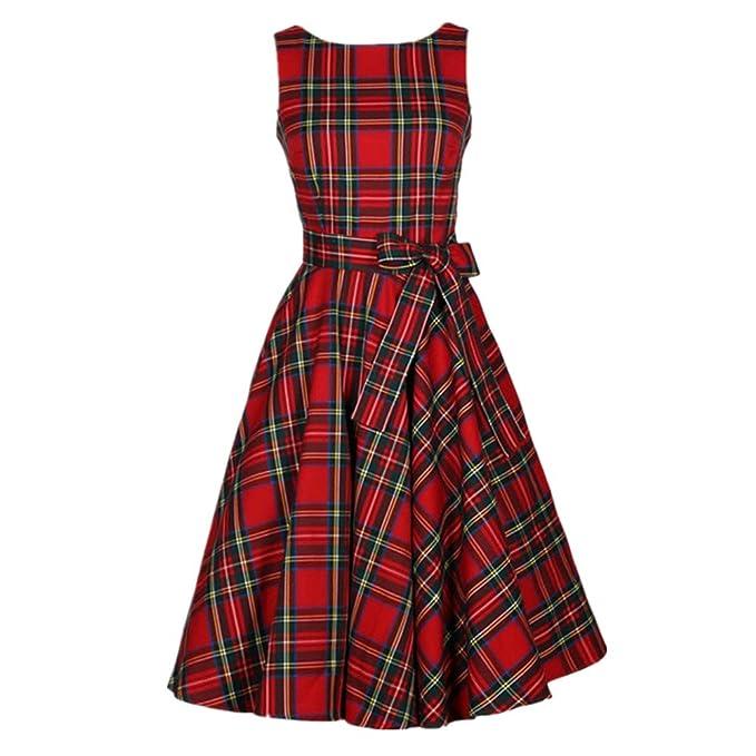 50s Vestidos Vintage Elegante Ceremonia de Boda Fiesta Mujer Vestido Retro Escocés Plaid Vestido sin mangas