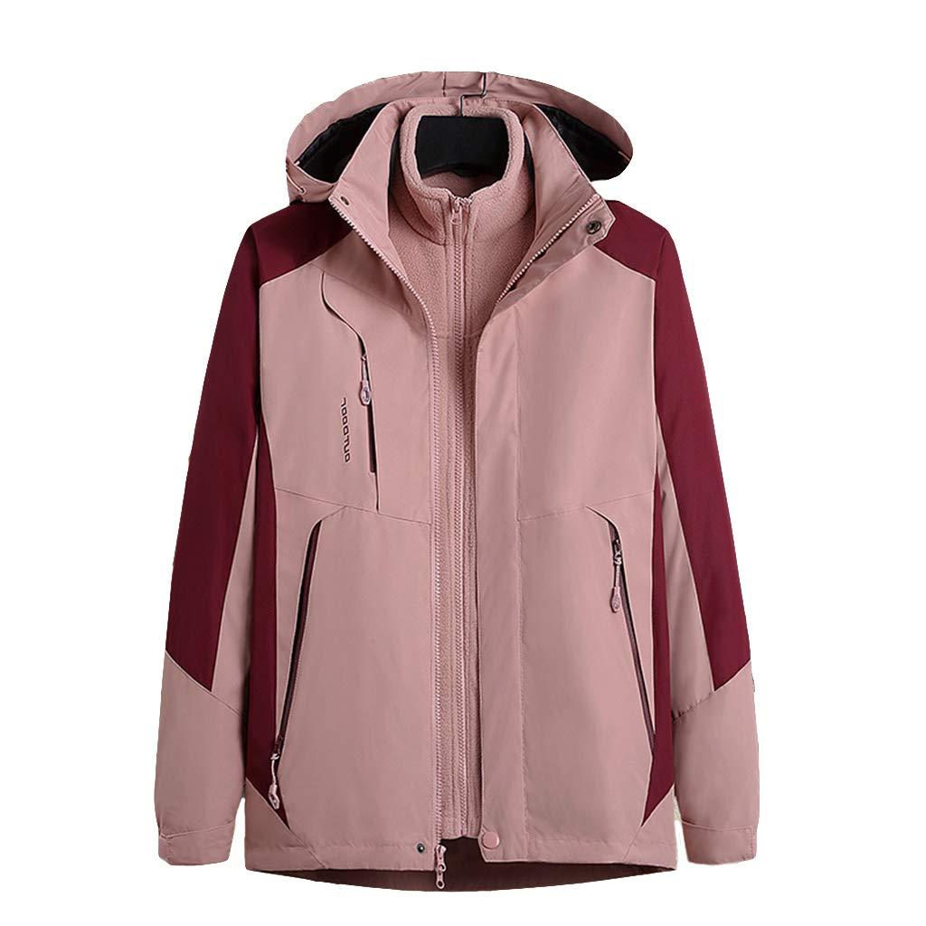 WYGH Damen 3 in 1 wasserdichte Jacken Outdoor Softshell atmungsaktiv Kapuze Regenmantel, abnehmbare Fleece-Innenjacke, Windjacke für Ski Wandern, Reisen,Pink-3XL