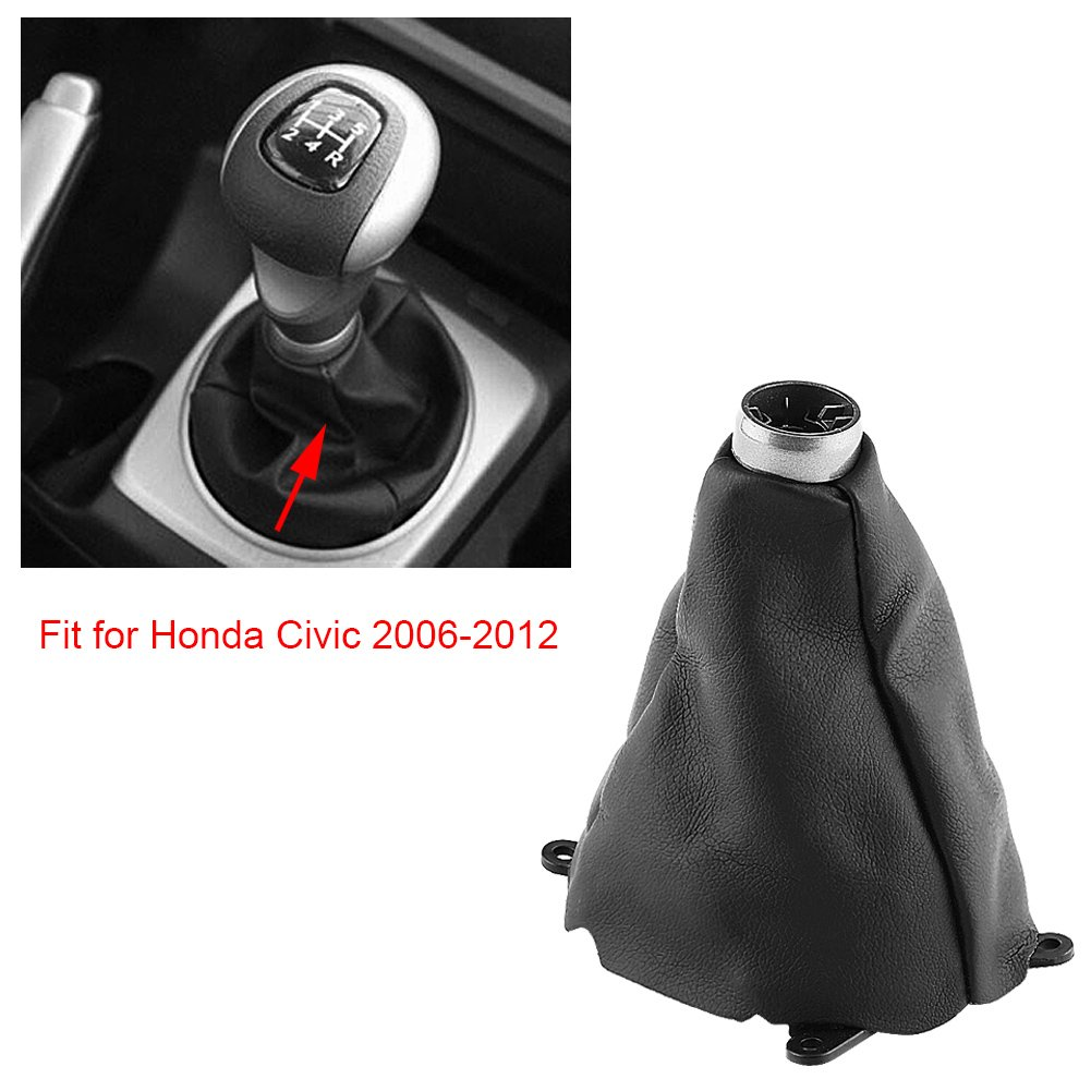 Qiilu Car Gear Gaiter Shift Shifter Boot Manual PU Leather Replacement for Honda Civic 2006-2012