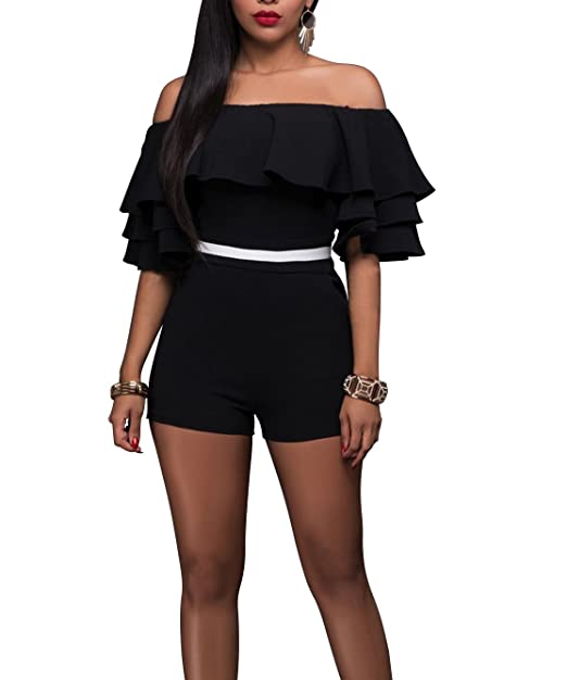 CoCo fashion Sexy Ruffle Off Shoulder One Piece Short Jumpsuit Rompers
