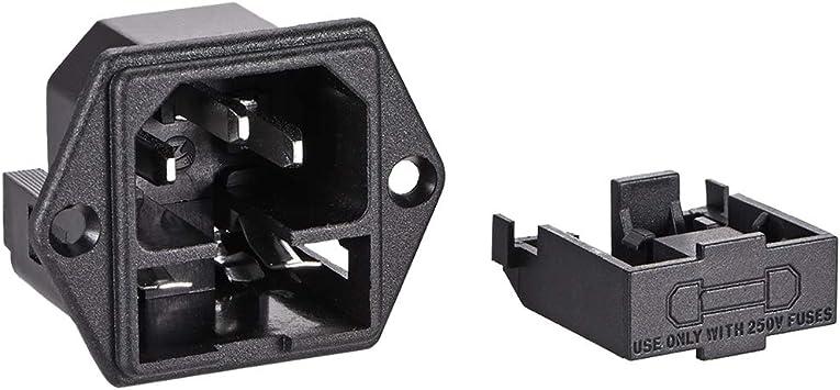 Panel Mount Plug Adapter AC 250V 10A C14 3Pins IEC Inlet Module Plug Straight