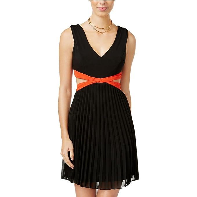 City Studio Womens Juniors Pleated Chiffon Semi Formal Dress Black 5