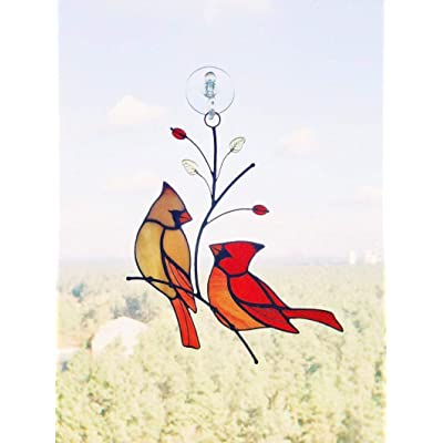 Red Cardinals Couple Suncather Stained Glass Bird Lover Friend mom Father Partner Housewarming Custom Gift Window hangings : Garden & Outdoor