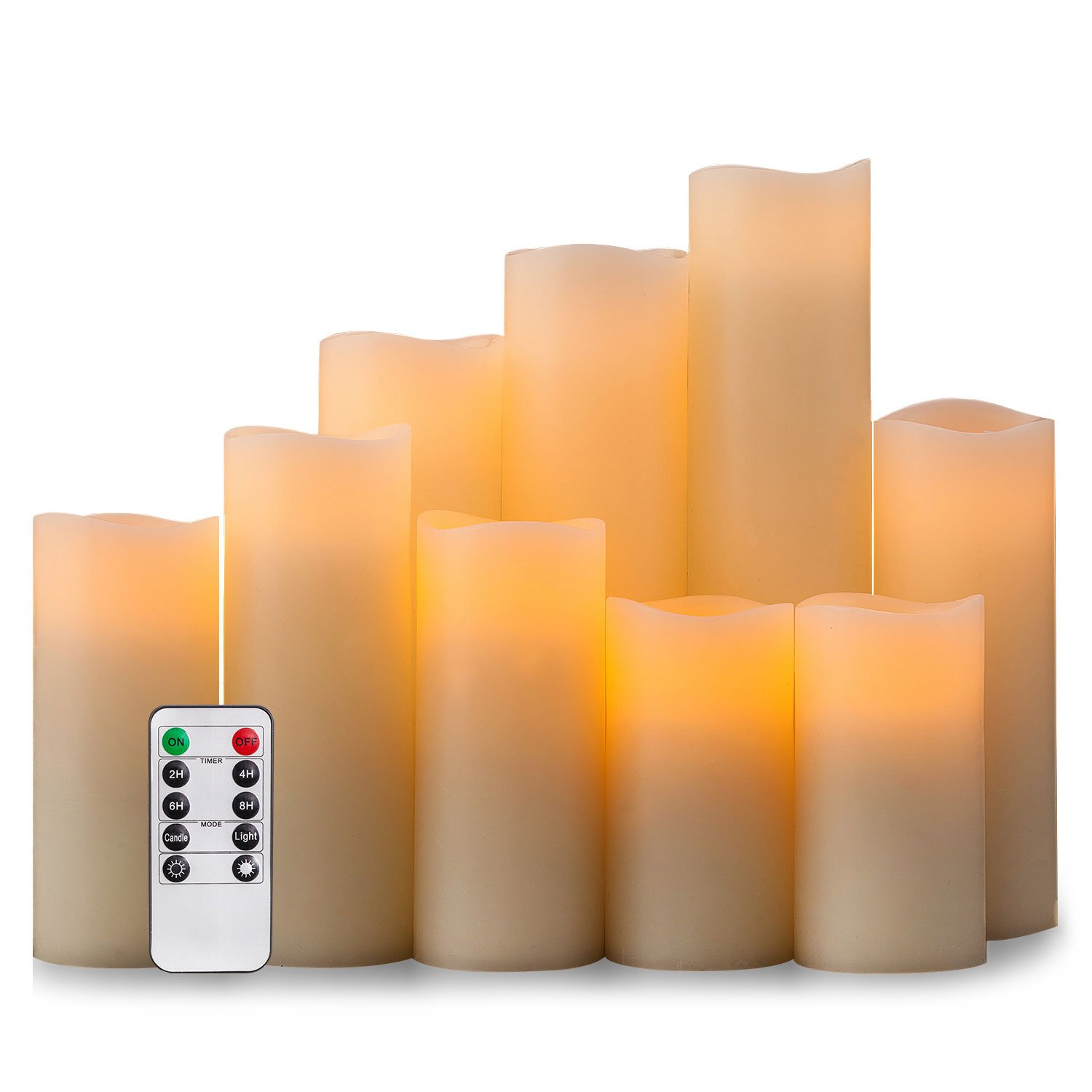 Pandaing Flameless Candles Battery Operated LED Pillar Real Wax Flickering Electric Unscented Candles with Remote Control Cycling 24 Hours Timer, Ivory Color, Set of 9 by Pandaing