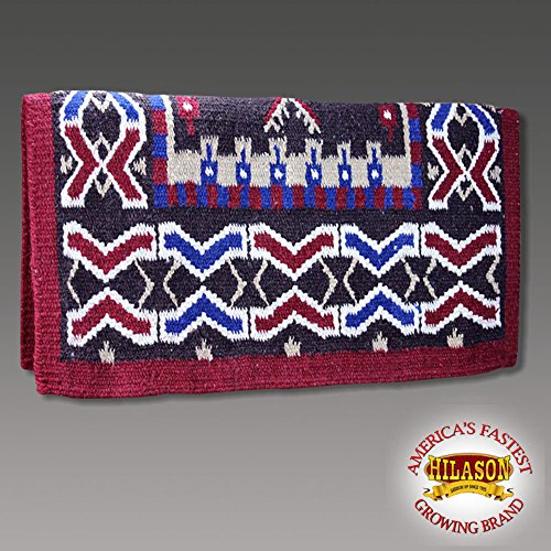 HILASON Western New Zealand Wool Horse Saddle Blanket Red Blue White
