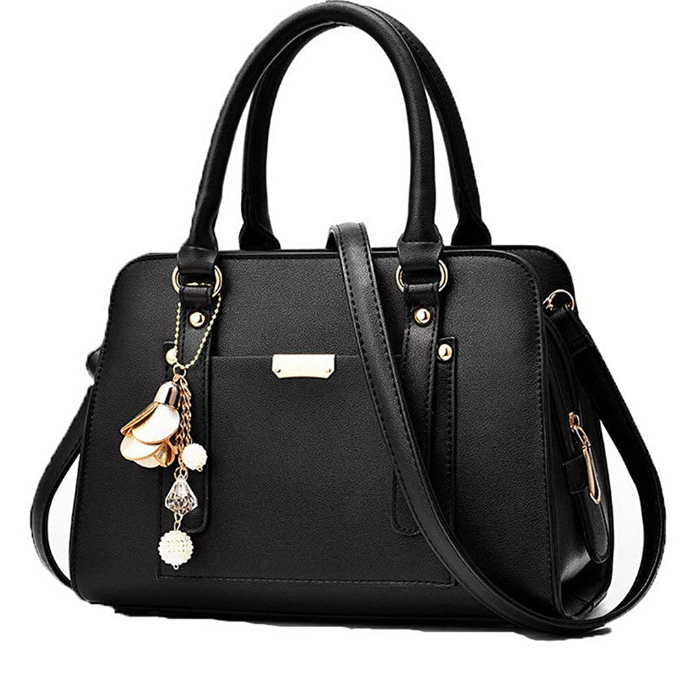 Black WeiPoot Women's Dress TwoToned Dacron Shoulder Bags Work Crossbody Bags, EGHBG181795