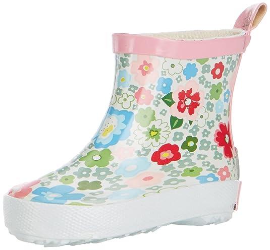 Playshoes Kinder Halbschaft-Gummistiefel aus Naturkautschuk, trendige Unisex Regenstiefel mit Reflektoren, mit Blumen-Muster