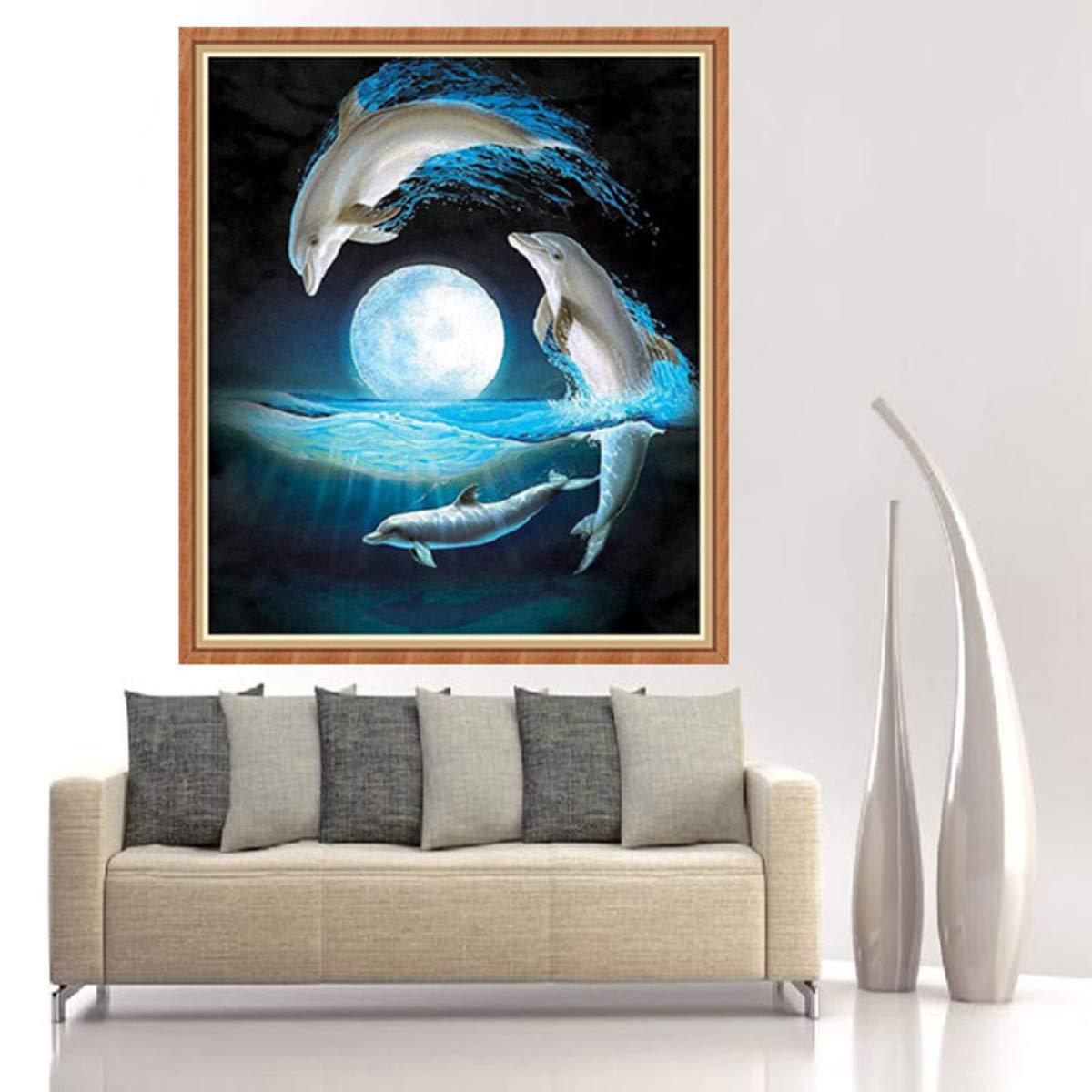 Pintura Diamante de BaZhaHei, Punta de delfín taladro 30 * 34cm del 5D DIY Pintura Diamante Bordado Cruz Artesanía Puntada Decoración Para El Hogar Arte de ...