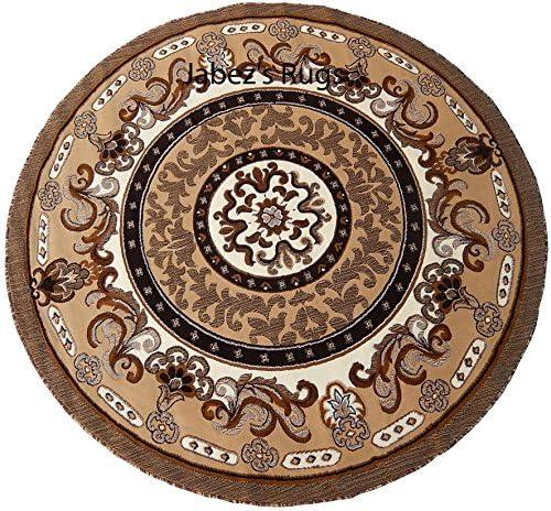 Persian Medallion Carpet 7×7 Round Area Rug Berber Tan Actual Size 6 7 x 6 7