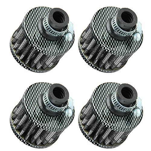 (ESUPPORT 12mm Mini Carbon Fiber Universal Car Motor Cone Cold Clean Air Intake Filter Turbo Vent Pack of 4)