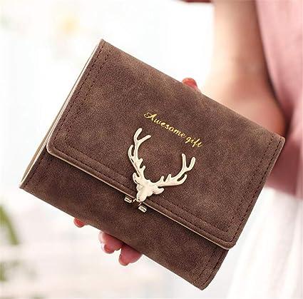 Yasla Roele Carteras Mujeres Nubuck Sección Corta Moda Soft Gran Capacidad Simple Tela Escocesa Monedero Largo