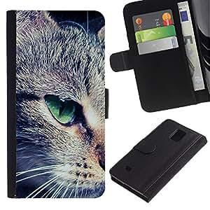 Green Eye Mongrel Shorthair Close Cat - la tarjeta de Crédito Slots PU Funda de cuero Monedero caso cubierta de piel Samsung Galaxy Note 4 IV