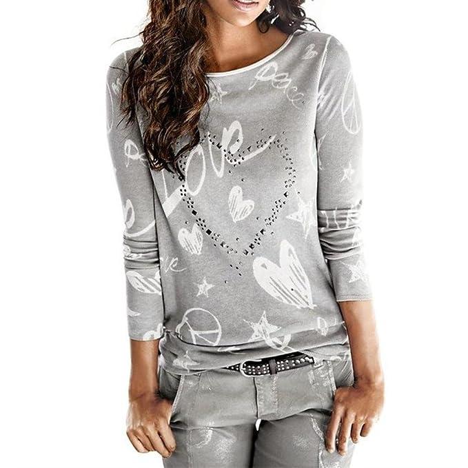 TUDUZ Damen Langarm Pullover Brief Gedruckt Shirt Casual