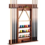 XCSOURCE Billiard Cue Rack, Wall Mounted Wooden Pool Cue Rack, 8 Holes for Billiard Cues, 5-Layer Platform Can Hold…