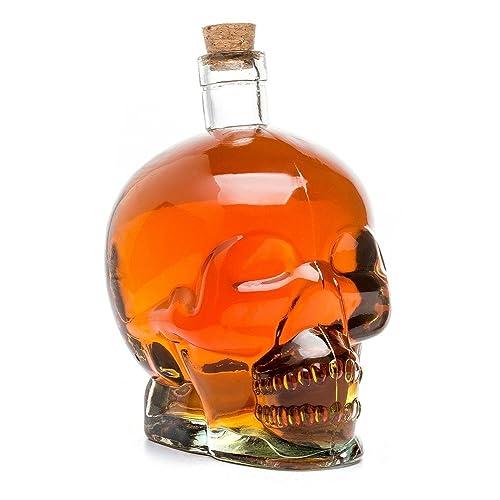 Cráneo de cristal Calavera Botella, cristal Jarra, transparente para alkoholische y no las bebidas