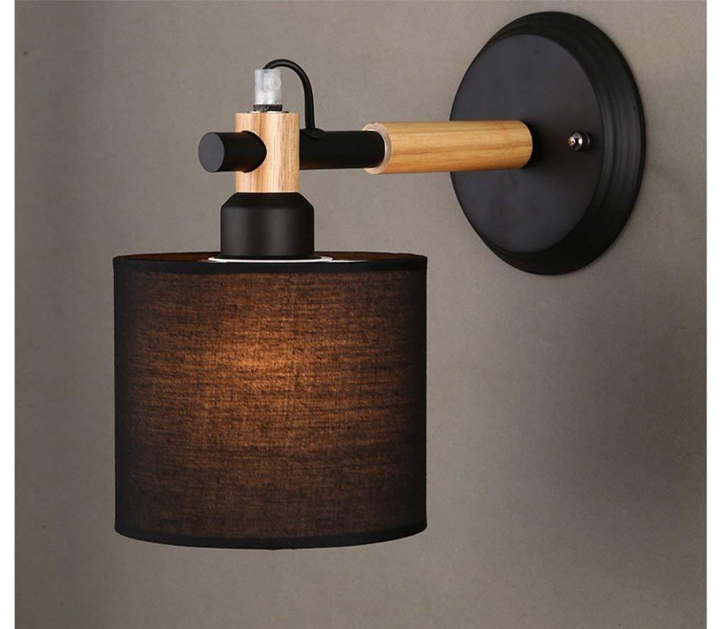 Zhang Yan ZYY Nordeuropa Holz Creative Modern Minimalist Korean Style Living Lights Schlafzimmer Holzscheite Nachttischlampe (Farbe  SCHWARZ)