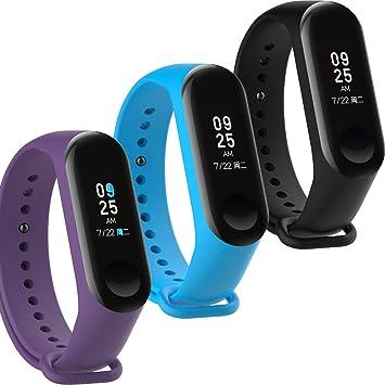WindTeco Pack de 3 Correa Xiaomi Mi Band 3 / Xiaomi Mi Band 4, Silicona Repuesto Pulsera Recambio Reloj Banda Extensibles Correa Reemplazo, Negro, Azul, Púrpura (Sin Rastreador de Actividad): Amazon.es: Deportes