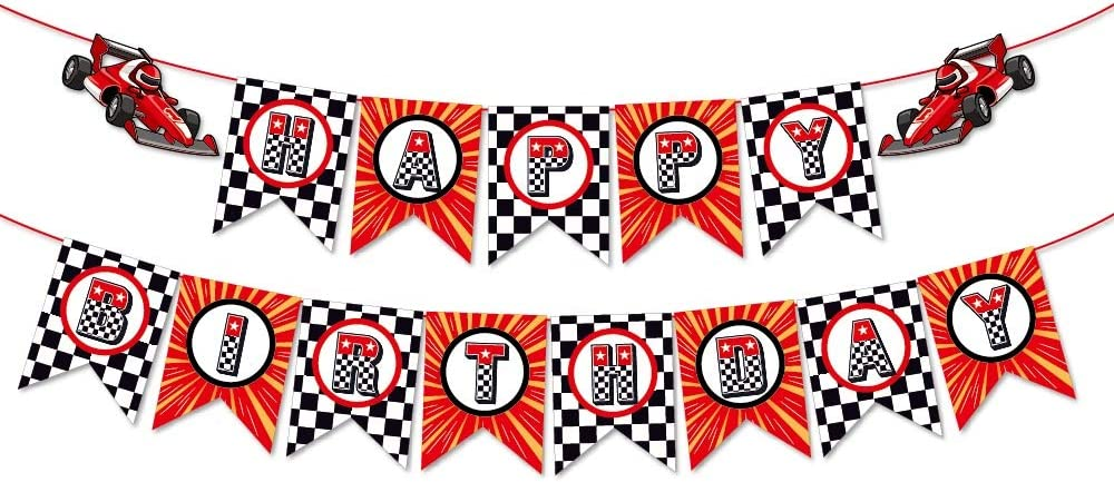 Kristin Paradise Race Car Happy Birthday Banner, Racing Party Sign, Racer Decorations, Boy Girl Baby Shower Theme Supplies, Bday Kids 1st First Decor