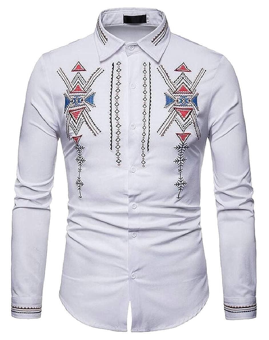 FLCH+YIGE Mens Slim Print Long Sleeves Casual Button Down Dress Shirts