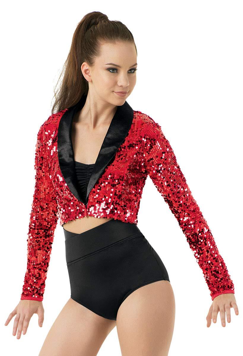 Balera Jacket Girls Blazer for Dance Sequin Long Sleeve Tuxedo Jacket Red Adult X-Large by Balera