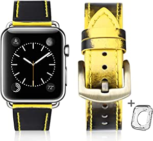 Leather Bands Compatible with Apple Watch Band 38mm 40mm 42mm 44mm,Top Grain Leather Smart Watch Strap Compatible for Men Women iWatch Series 5 4 3 2 1(Noble Yellow + Gold Buckle, 38mm 40mm)