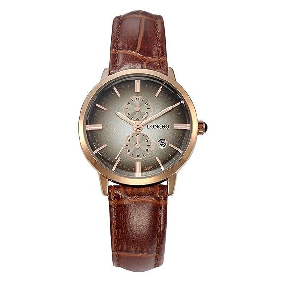 Longbo MUJER lujo marrón piel banda par reloj vestido de negocios Casual relojes esfera gris oro caso cuarzo analógico muñeca Pareja Reloj: Amazon.es: ...