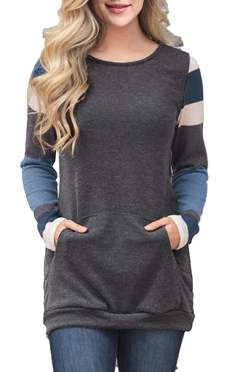 Demetory Women Cotton Knitted Color Block Long Sleeve Striped Tunic Sweatshirt Tops With Kangaroo Pocket